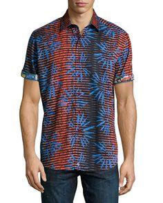 NWT $228 Robert Graham Fireworks S/S Firework Striped Sport Shirt - Size M & L #RobertGraham #ButtonFront