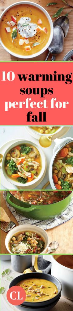 Fall is upon us! Keep warm this season with these ten comforting soup recipes. Combat the chilly air outside (or inside) the office with seasonal soup ingredients like pumpkin, squash, and sweet potatoes. Fall Recipes, Soup Recipes, Recipies, Pumpkin Squash, Cooking Light, Soups And Stews, Sweet Potato, Chili, Potatoes
