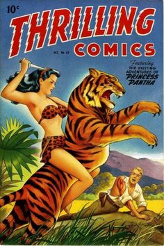 Princess Pantha on the cover of Thrilling Comics, from the 'Comic Girl Power, 1940's' post on howtobearetronaut.com