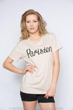 MASION KITSUNÉ Parisien Print, Melange Beige/Schwarz, T-Shirt, Unisex @ antecedens.de