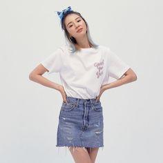 Irene Kim, Scrunchies, Role Models, Denim Skirt, Skirts, Clothes, Hair, Fashion, Templates