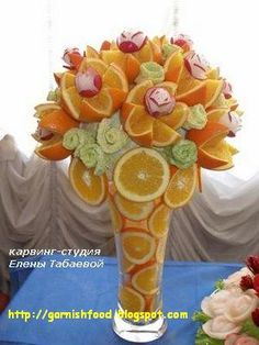 Fruit Carving Arrangements and Food Garnishes: A C - Food Carving Ideas Veggie Art, Fruit And Vegetable Carving, Veggie Food, Edible Food, Edible Art, Deco Fruit, Food Sculpture, Food Garnishes, Garnishing