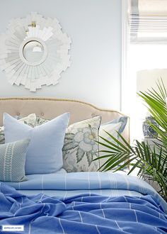 Beautiful summer bedding layered with blue throws and pillows. Blue Home Decor, Spring Home Decor, Rooms Home Decor, Bedroom Decor, Bedroom Ideas, Master Bedroom, Modern French Interiors, Country Bedroom Design, Summer Bedroom