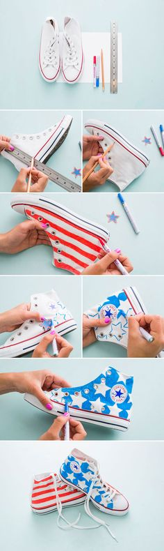 Making these sneakers for the 4th is a must. 1. Sketch out your patriotic design on a piece of paper to avoid making mistakes on the sneaks. 2. Create 1/2-inch lines along the shoe to provide a grid for your pattern. 3. Grab your paint pens and color away!