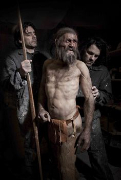 Kennis & Kennis Reconstructions, setting up the Otzi figure in the South Tyrol Museum of Archaeology in Bolzano.