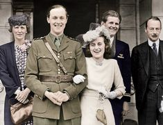 "William Cavendish, Marquess of Hartington, and Kathleen ""Kick"" Kennedy at their 1944 wedding, in London, flanked by his mother, the Duchess of Devonshire, and the bride's brother Joseph Kennedy Jr."