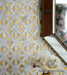 Joie, a handmade mosaic shown in honed Gold Glass, honed Honey Onyx and polished Calacatta, is part of the Aurora™ Collection by Sara Baldwin for New Ravenna. Backsplash Herringbone, Paint Backsplash, Hexagon Backsplash, Beadboard Backsplash, Mosaic Backsplash, Backsplash Ideas, Kitchen Backsplash, Granite Backsplash, Mirror Backsplash
