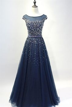 A Line Bateau Neckline Cap Sleeve Navy Tulle Beaded Prom Dress With Sash
