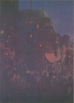 Gaganendranath Tagore  (1867-1938) - A Street Near a Temple
