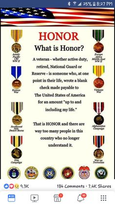 Honor- my father understood this completely. He was in the National Guard, my grandfather in the Navy, my great-grandfather in the Army. Military Quotes, Military Humor, Military Veterans, Military Service, Military Life, Navy Veteran, Military Spouse, Military Ranks Marines, Usmc Quotes