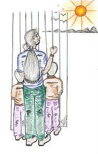 Mother draws portrait of life trapped inside detention with her children.