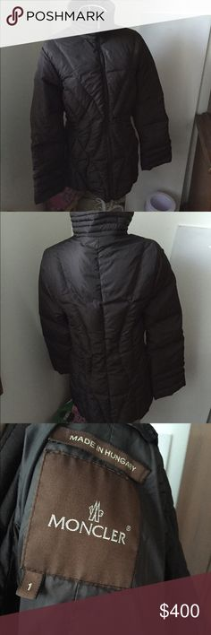 Moncler down jacket Moncler size 1. Older style jacket worn only a few times. condition as shown and reflected in price. This item is in good condition but it has been worn please ask any questions before purchasing. This item will only be traded for an autographed Authentic Chanel original, a Lamborghini, a penthouse in Paris, or the services of an Audi mechanic. All orders will be recorded before shipping. I do not model. Please see my reasonable offer chart before submitting an offer…