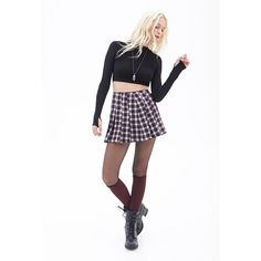Forever 21 Women's  Pleated Plaid Mini Skirt ($8.99) ❤ liked on Polyvore featuring skirts, mini skirts, short plaid mini skirt, short mini skirts, plaid pleated mini skirt, short skirts and plaid skirt