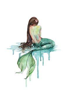 """Acuarela de sirena - impresión titulada, """"La sirena"""", playa Decor, cola de sirena, sirena impresión, arte de pared de sirena, verde esmeralda, océano"""
