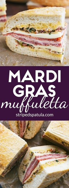 Mardi Gras Muffuletta Get ready to feast on this epic New Orleans-inspired sandwich, layered with Italian meats, cheeses, and homemade olive salad! Sandwich Recipes, Lunch Recipes, Cooking Recipes, Lunch Meals, Sandwich Bar, Cajun Cooking, Sandwich Ideas, Grilled Sandwich, Dinner Recipes