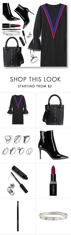 """Black dress"" by simona-altobelli ❤ liked on Polyvore featuring Gianvito Rossi, Bobbi Brown Cosmetics, Smashbox, Gucci and Cartier"