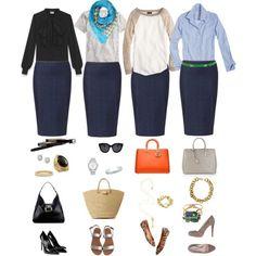 4 façons de porter une jupe fuseau bleu marin #skirt #outfit