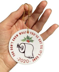 "Amazon.com: Christmas Ornament 2020 in Ceramic, Toilet Paper, TP, Shortage Quarantine Pandemic Keepsake, Holiday Tree Ornament Decoration 3"" in Diameter Don't Know What You've Got Til It's Gone Stocking Stuffer: Kitchen & Dining"