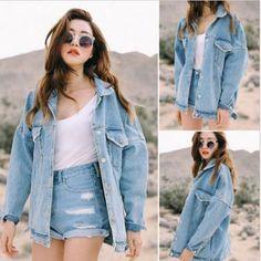 New Retro Korean Fashion Women Oversize Denim Jeans Jacket Boyfriend Style Coat #Unbranded #JeanJacket #Casual