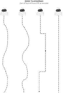 Learning and Teaching With Preschoolers: Spider Fine Motor Skills - scissor skills Preschool Jobs, Preschool Arts And Crafts, Preschool Centers, Preschool Education, Preschool Learning, Preschool Cutting Practice, Cutting Activities, Halloween Activities, Preschool Halloween