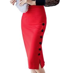 Women's High Waist  Button Pencil Skirts Female Plus Size S-5XL Red Black Casual Slim Skirt Ladies Elastic Waist Sexy OL Skirt