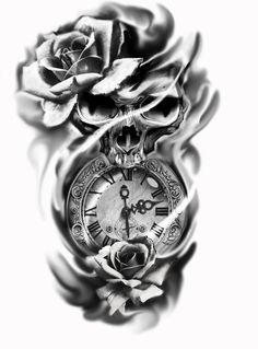 Tattoo Design Ideas for Men/Women tattoos for men Realistic Vintage Side Tattoo Design For Women (female) Clock Tattoo Design, Tattoo Design Drawings, Skull Tattoo Design, Tattoo Sleeve Designs, Tattoo Sketches, Tattoo Designs Men, Sleeve Tattoos, Pocket Watch Tattoo Design, Skull Rose Tattoos