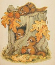 Cute Vintage Hallmark Fall Die Cut Reminds me of my first etching project! Animal Drawings, Cute Drawings, Fall Clip Art, Vintage Fall, Fall Pictures, Autumn Art, Woodland Creatures, Cute Illustration, Fall Halloween
