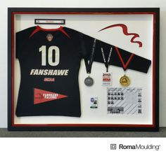 What better way commemorate a student-athlete's career than with some wonderful custom framing? Check out this sensational piece that comes to us from our friend Ken at Chops in London!  Do you have any athletic gear you would like preserved forever?