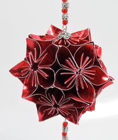 VALENTINES DAY Gift Ornament Decoration Home Décor KUSUDAMA Modular Origami Handmade in Bright Red Paper, on Ornament Stand One Of A Kind