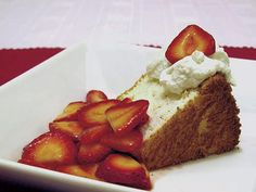 Angel Food Cake with Strawberries and Homemade Whipped Cream