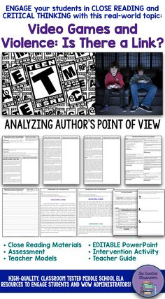 """Are you looking for a thought-provoking and real-world topic that will engage your students in critical thinking while they analyze a non-fiction text to determine the author's point of view? Look no further than this Analyzing Author's Point of View activity that centers around an non-fiction article, """"Video Games and Violence: Is There a Link?""""."""