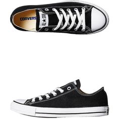 Converse Womens Chuck Taylor All Star Lo Shoe ($64) ❤ liked on Polyvore featuring shoes, sneakers, converse, sapatos, flats, black, flat shoes, flats sneakers, embroidered shoes and converse flats