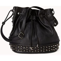 FOREVER 21 High-Voltage Bucket Bag ($30) ❤ liked on Polyvore featuring bags, handbags, shoulder bags, bolsas, purses, accessories, black, forever 21 handbags, forever 21 and black studded shoulder bag