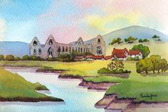Watercolour Print Tintern Abbey by Pamelajonesartstudio on Etsy