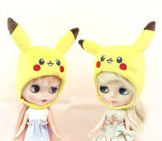 Handmade cute pikachu helmet for Blythe ~ pokemon plush hat