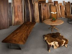 Choose a rare wood slab for a custom slab table from our huge selection. Select the size, finish & legs for a custom table or live edge coffee table. Wood Slab Table, Log Table, Wood Tables, Live Edge Tisch, Live Edge Table, Live Edge Wood, Live Edge Furniture, Log Furniture, Traditional Dining Tables