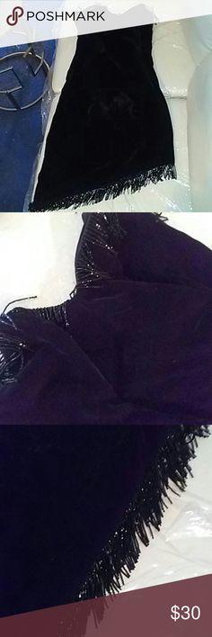 Jolie Madame Vintage beaded fringe velvet dress Jolie Madame Vintage beaded fringe black velvet strapless dress all beads intact size 8 Jolie Madame Dresses Asymmetrical