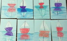 Art Teacher in LA - Page 11 of 13 - Art lessons for teachers Art Lessons For Kids, Art Lessons Elementary, Art For Kids, First Grade Art, 6th Grade Art, Sailboat Art, Sailboats, Reflection Art, Pta Reflections