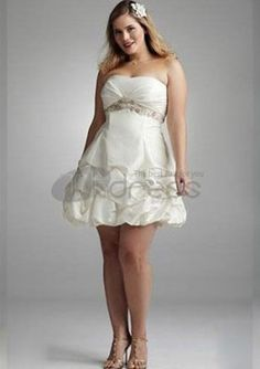 Plus Size Wedding Dresses / Short Strapless Taffeta Plus Size Wedding Dress