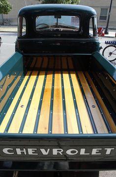 The poplar bed in Harold Fryman's 1950 Chevrolet pickup truck.