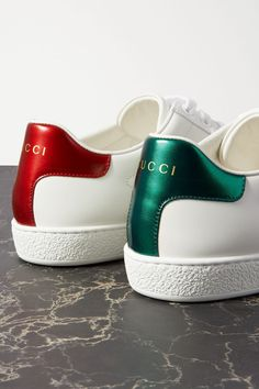 Sole measures approximately 1 inch White, metallic green and metallic red leather, green and red canvas Lace-up front Made in Italy Gucci Shoes Sneakers, Leather Sneakers, Adidas Sneakers, Metallic Heels, White Leather, White Gold, Adidas Stan Smith, Me Too Shoes, Slip On