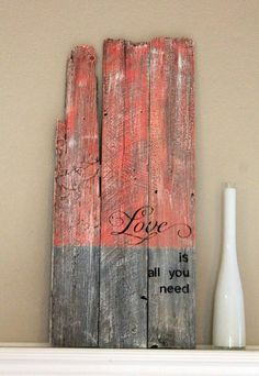 OLD WOOD SIGN - Color Blocking - Reclaimed Wood SIgn Vintage Wood Sign. $29.99, via Etsy.