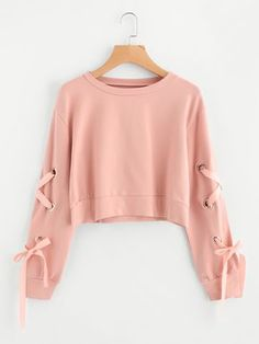 Shein Eyelet Lace Up Sleeve Crop Sweatshirt - Sweat Shirt - Ideas of Sweat Shirt - Shop Eyelet Lace Up Sleeve Crop Sweatshirt online. SheIn offers Eyelet Lace Up Sleeve Crop Sweatshirt & more to fit your fashionable needs. Girls Fashion Clothes, Teen Fashion Outfits, Girl Outfits, Woman Clothing, Casual Clothes For Women, Cute Teen Clothes, Tween Clothing, Hot Clothes, Prom Outfits