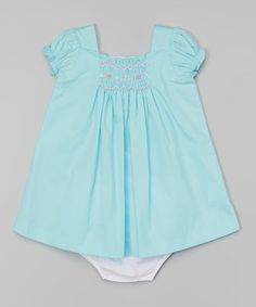 Look at this #zulilyfind! Turquoise Smocked Swing Dress & Diaper Cover - Infant #zulilyfinds