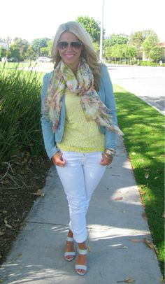 Yellow lace shirt, scarf and teal blazer - love