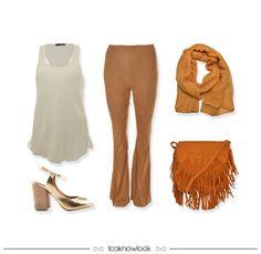 Boho Style | Camel | Regata Off + Calça Suede + Pashmina + Bolsa Franjas + Sandália Dourada #moda #look #outfit #looknowlook