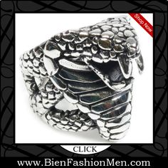 Mens Bold Rings | Mens Bold Ring | Mens Rings | Bold Rings | Mens Jewelery | Jewelry on Men | Jewelery for Men | Men Jewellry | Male Jewellery | Chunky Rings | Affordable Rings | Shop Now ♦ Stainless Steel Big Snake Cobra Mouth Open Man Boy Biker Ring $14.99