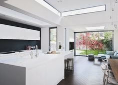 Handless white units increase the overall sense of space in a kitchen. Beautiful Kitchens loves the Lucrezia units by Absolute Kitchens.