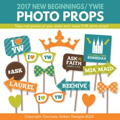 I love this idea! Photo props for 2017 Young Women Mutual Theme! Perfect for our upcoming New Beginnings or Young Women in Excellence!
