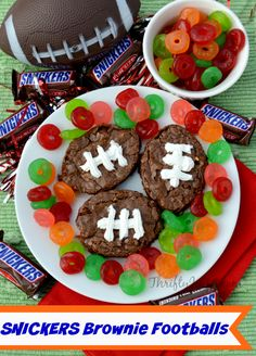 This Football SNICKERS Brownies Recipe is perfect for game day! It's easy to make with a boxed brownie mix and SNICKERS!